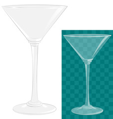 Transparent isolated martini glass