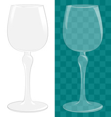 Transparent isolated wine glass