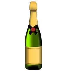 Green bottle of sparkling wine isolated on white