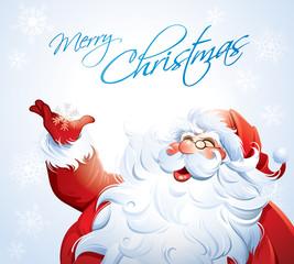 Santa Claus grabbing a snowflake
