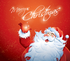 Santa Claus grabbing a star
