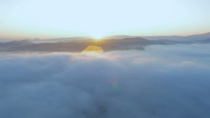 Sunrise in the foggy place