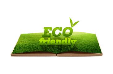 Eco concept,Grass on book