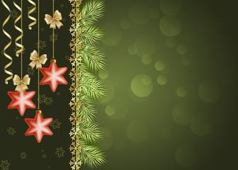новогодний темно-зеленый фон со звездами и серпантином