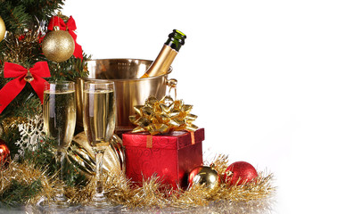 Christmas or New Year's Eve. Champagne and Presents. Celebration