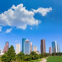 Houston skyline sunny day park Texas USA