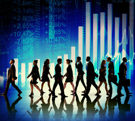 Business People Walking Financial Figures Concepts