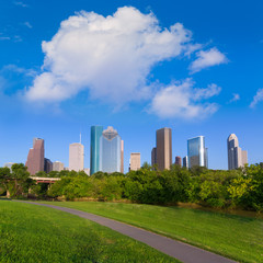 Huston skyline from Eleanor Tinsley park Texas US
