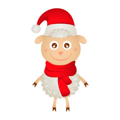cute sheep in a Christmas hat