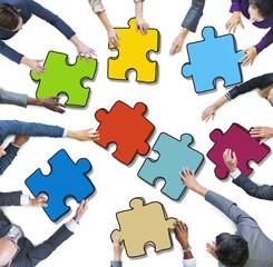 People Holding Jigsaw Puzzle Photo Illustration