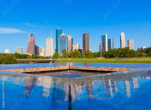 Poster Texas Houston skyline and Memorial reflection Texas US