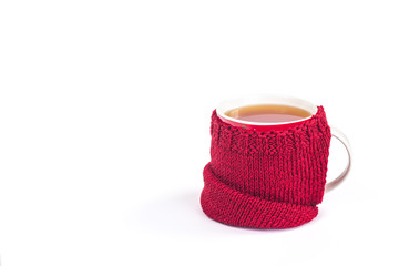 Knitted red mug