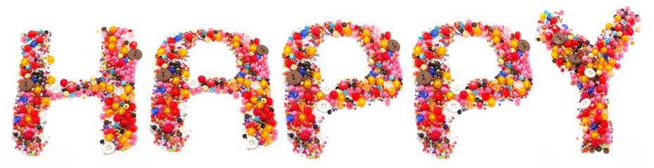 happy is made of colorful bead