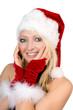 canvas print picture - hübsche Frau im Weihnachtskostüm
