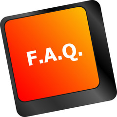 keyboard with faq button - business concept