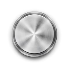Vector silver metal textured button