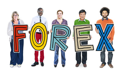 Group of People Standing Holding Word Forex