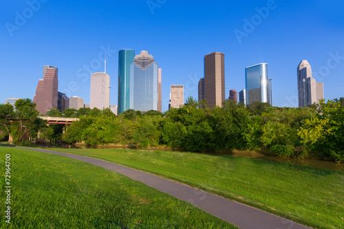 Aluminium Texas Huston skyline from Eleanor Tinsley park Texas US