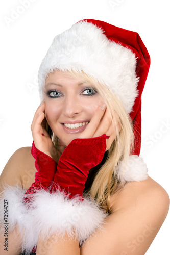 canvas print picture hübsche Frau im Weihnachtskostüm