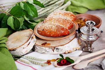 puff with raisins and powdered sugar Russian still life