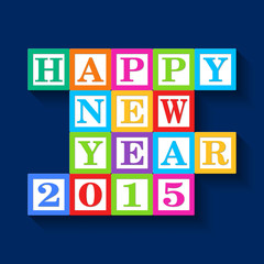 Happy New Year 2015 card, wooden blocks