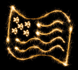 Flag of USA made of sparkles on black