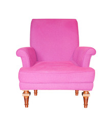 Purple armchair isolated on white background.