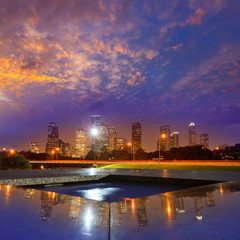 Houston sunset skyline from Texas US