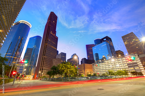 Poster Texas Houston Downtown skyline at sunset Texas US