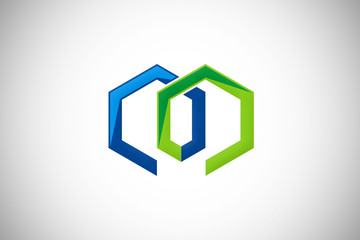 construction business polygon vector logo