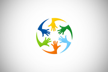 hand diversity help colorful vector logo