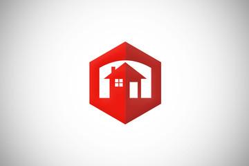 home house polygon icon abstract vector logo