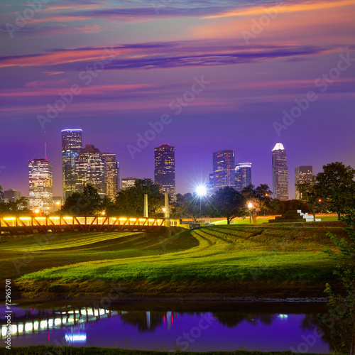 Plexiglas Texas Houston sunset skyline from Texas US