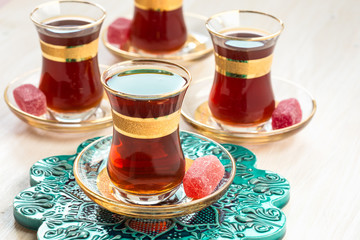 Traditional Turkish tea in glasses
