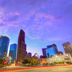 Houston Downtown skyline at sunset Texas US