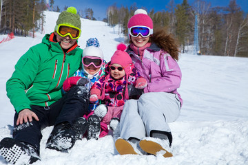 family on winter resort