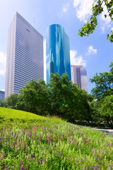 Houston skyline from Tranquility Park in Texas US
