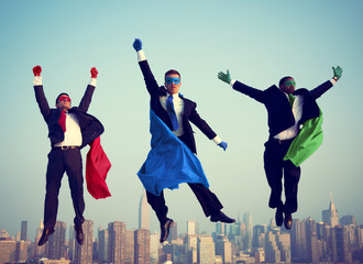 Superhero Businessmen Flying New York Concepts