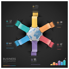 Global Business And Financial Infographic With Arrow Round Circl