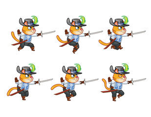 Musketeer Cat Running Sprite