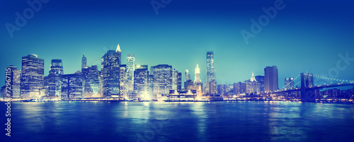 New York City Panorama Night Concepts - 72967115