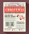 Christmas party poster invite background in newspaper style - 72967324