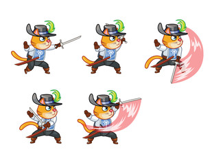 Musketeer Cat Attacking Sprite