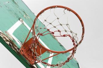 Old wooden basketball basket