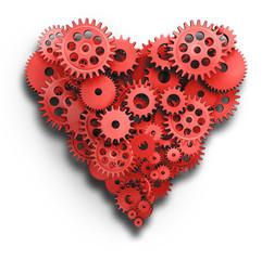 Herz aus roten Zahnrädern