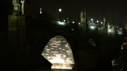 Night Charles bridge - river Vltava - lamps (lights)