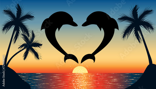 jumping up dolphin shaped heart with sunset