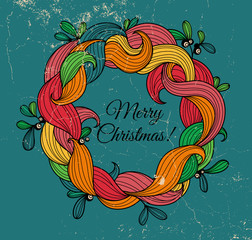 Retro greeting card with Christmas wreath