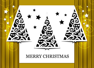 Gold greeting card with Christmas tree