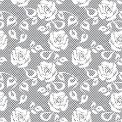 white lace seamless pattern on gray background